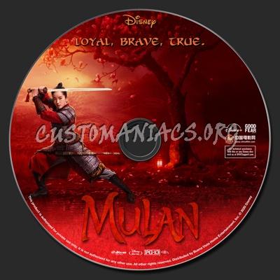 Mulan (2020) blu-ray label