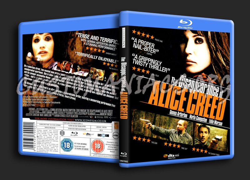The Disappearance of Alice Creed blu-ray cover