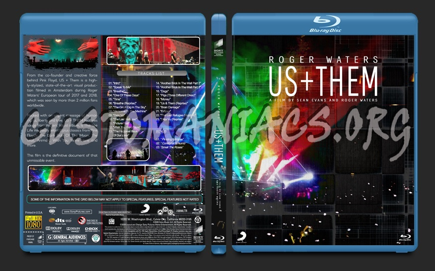 Roger Waters Us + Them (2020) blu-ray cover