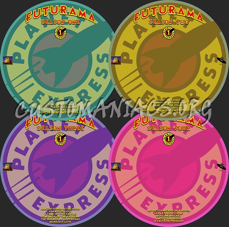 Futurama Seasons 1-4 dvd label