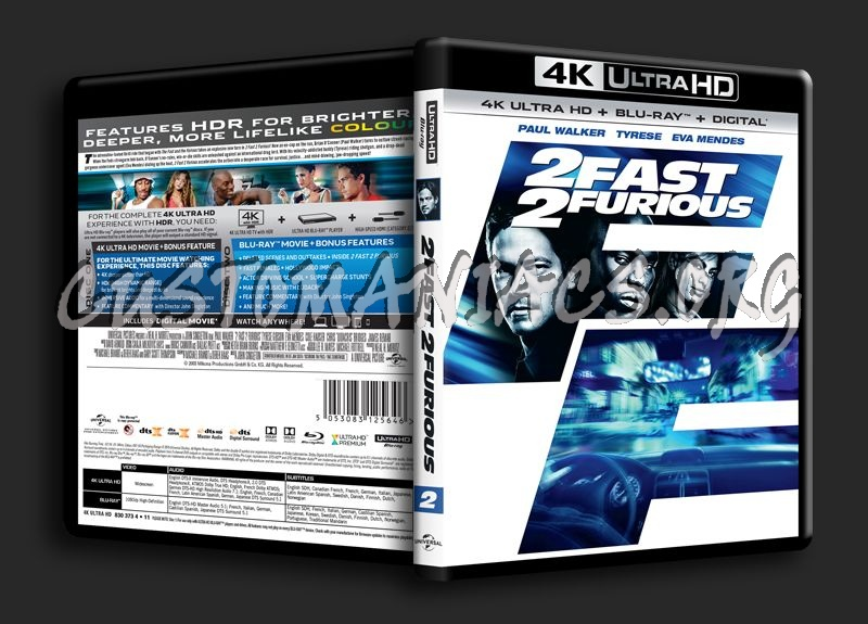2 Fast 2 Furious 4K blu-ray cover