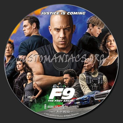 F9 The Fast Saga (aka Fast & Furious 9) blu-ray label
