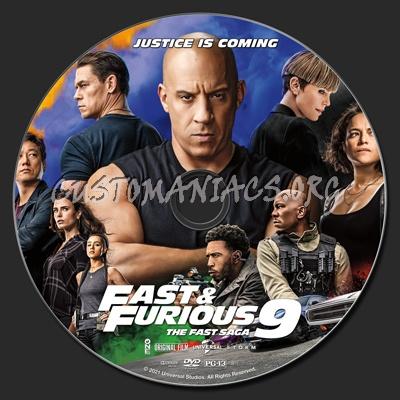F9 The Fast Saga (aka Fast & Furious 9) dvd label