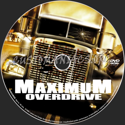 Maximum Overdrive dvd label