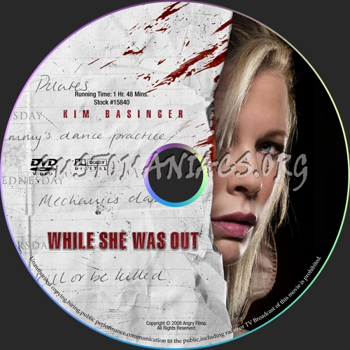 While She Was Out dvd label