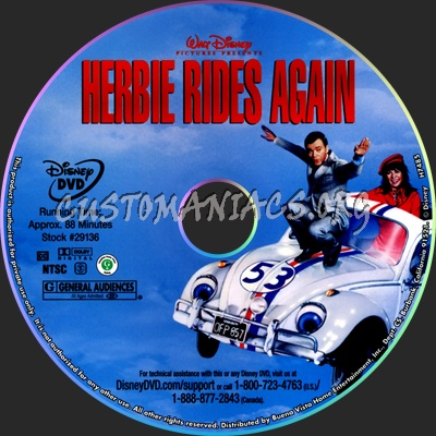 Herbie Rides Again dvd label - DVD Covers & Labels by ...