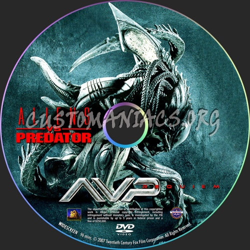 Aliens vs Predator Requiem dvd label