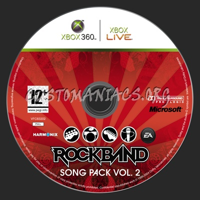 Rock Band Song Pack VOL 2 Dvd Label