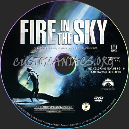 Fire in the sky dvd label