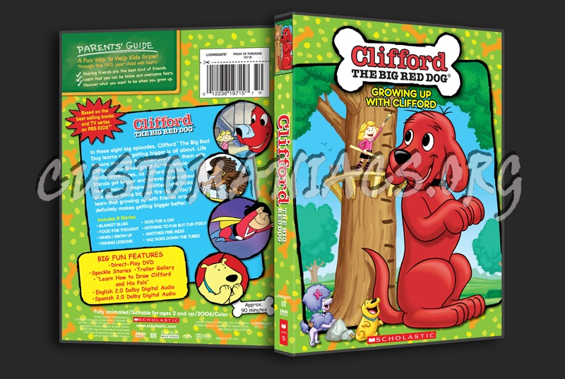 Clifford the big red dog gowing up with clifford dvd cover