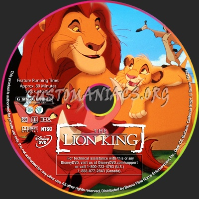 The Lion King dvd label