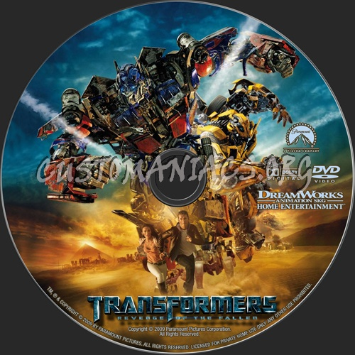 Transformers Revenge of the Fallen dvd label