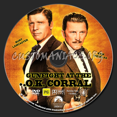 Gunfight At The O.K. Corral dvd label