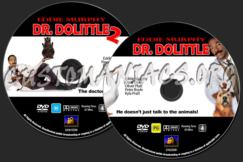 Eddie Murphy Collection - Dr. Dolittle / Dr. Dolittle 2 dvd label