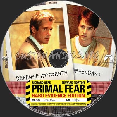 Primal Fear Hard Evidence Edition dvd label
