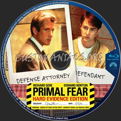 Primal Fear Hard Evidence Edition blu-ray label