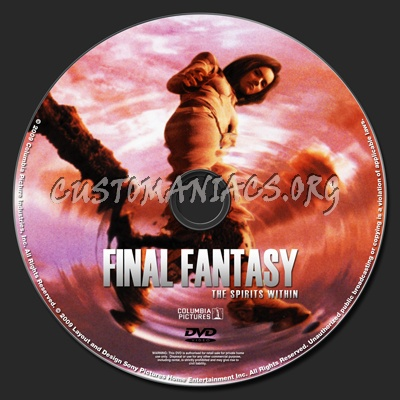 Final Fantasy The Spirits Within dvd label