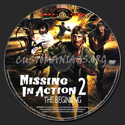 Missing in Action 2 The Beginning dvd label