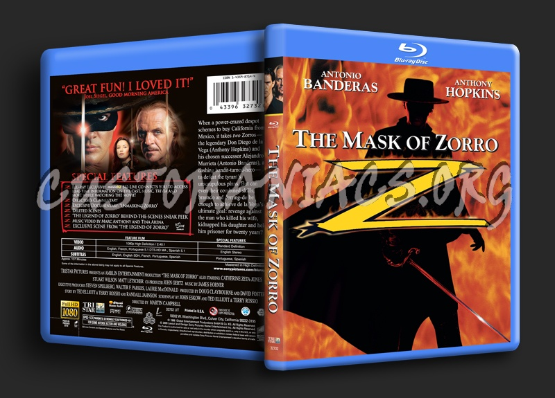 The Mask of Zorro blu-ray cover