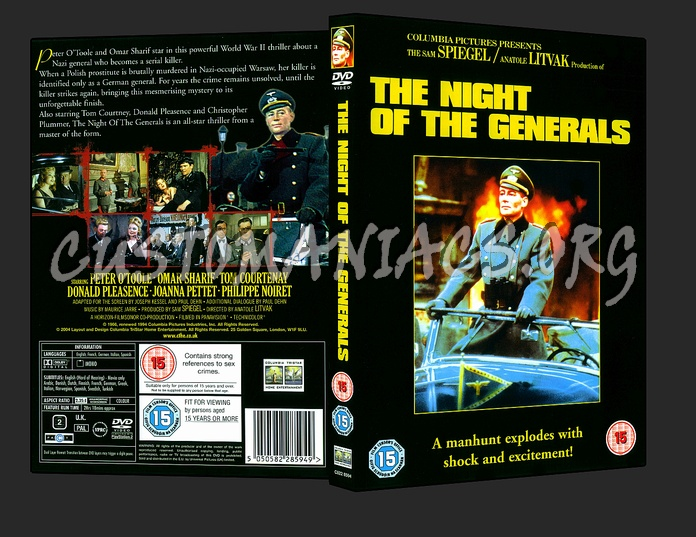 The Night Of The Generals dvd cover