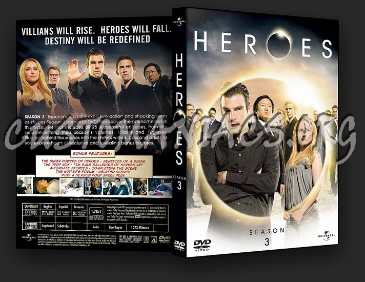 Heroes Season 3 dvd cover
