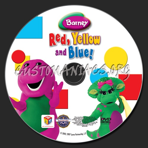 Barney: Red, Yellow and Blue! dvd label