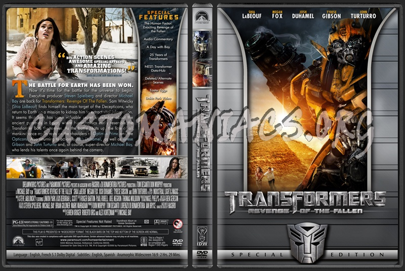 Transformers: Revenge of the Fallen dvd cover