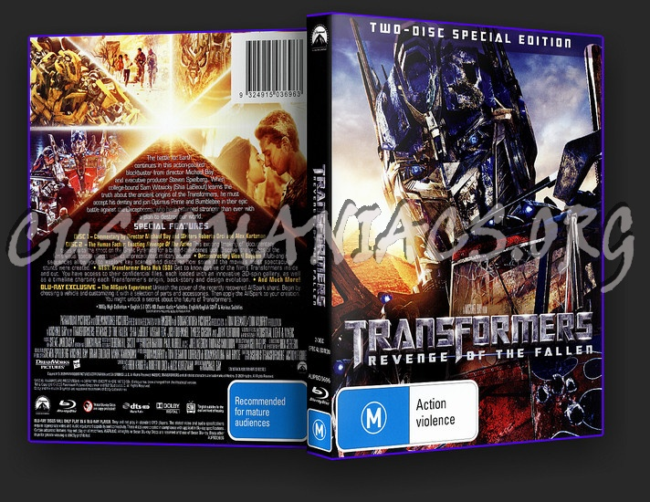Transformers Revenge of The Fallen blu-ray cover