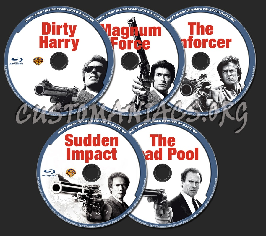 Dirty Harry / Magnum Force / The Enforcer / Sudden Impact / The Dead Pool blu-ray label