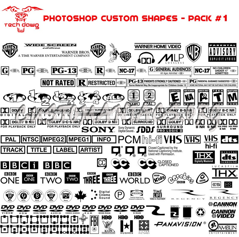 TechDawg\'s DVD Customs 1-4 (PS Custom Shapes)
