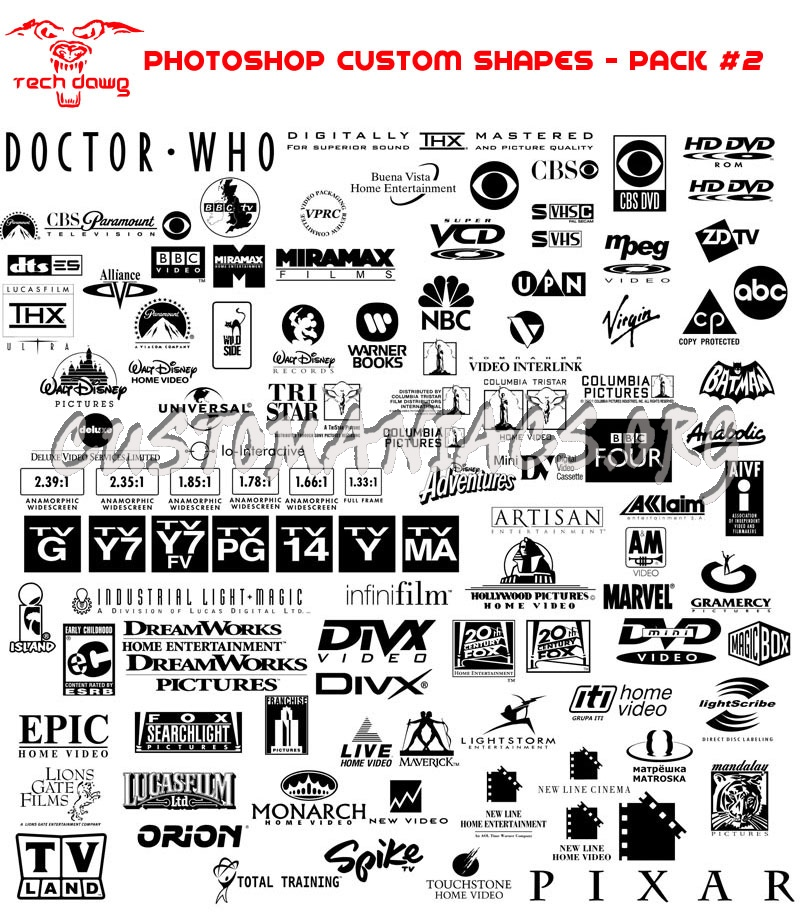 TechDawg's DVD Customs 1-4 (PS Custom Shapes)
