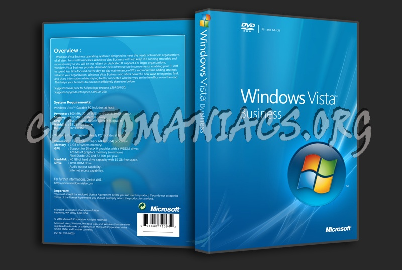 Windows Vista Business dvd cover