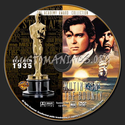 Academy Awards Collection - Mutiny On The Bounty dvd label