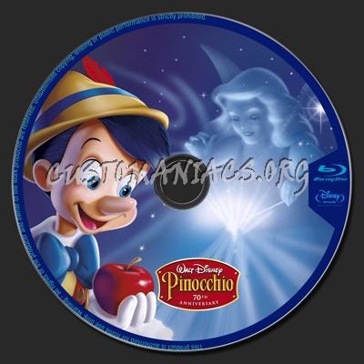 Pinocchio 70th Anniversary Edition blu-ray label
