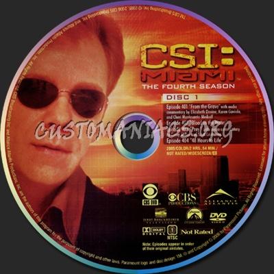 CSI Miami Season 4 dvd label