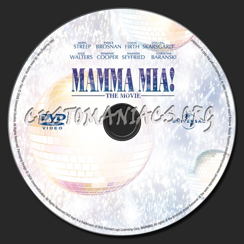 Mamma Mia!  The Movie dvd label