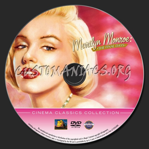 Marilyn Monroe The Final Days dvd label