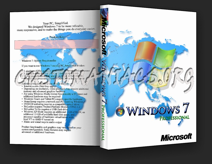 Windows 7 Professional dvd cover