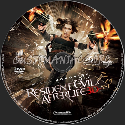 Resident Evil: Afterlife dvd label