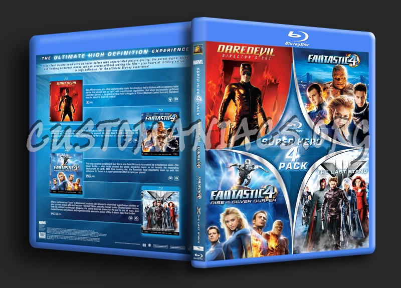Super Hero 4 Pack: Daredevil / Fantastic 4 + Rise of Silver Surfer/ X-Men Last Stand blu-ray cover