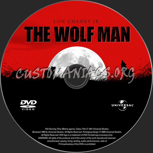 The Wolf Man dvd label