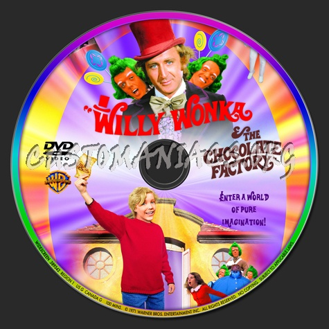 Willy Wonka And The Chocolate Factory (1971) dvd label