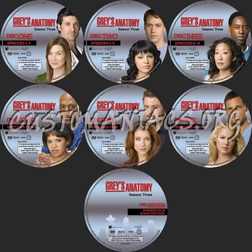 Grey\'s Anatomy Season 3 dvd label - DVD Covers & Labels by ...