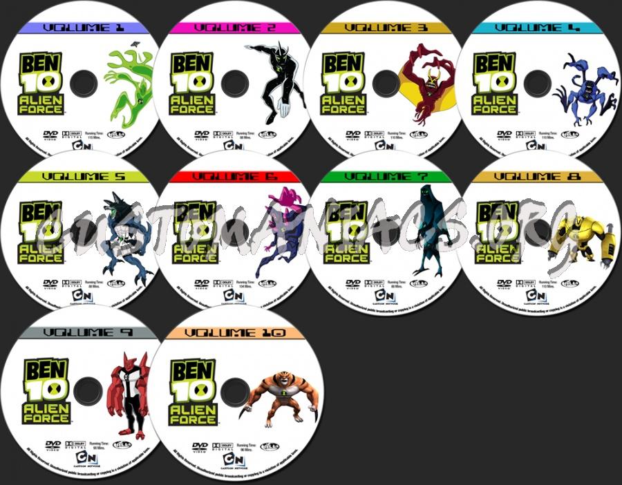 Ben 10 - Alien Force Volume 1 2 3 4 5 6 7 8 9 10 dvd label