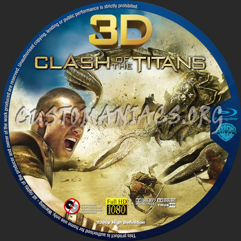 Clash Of The Titans 3D blu-ray label