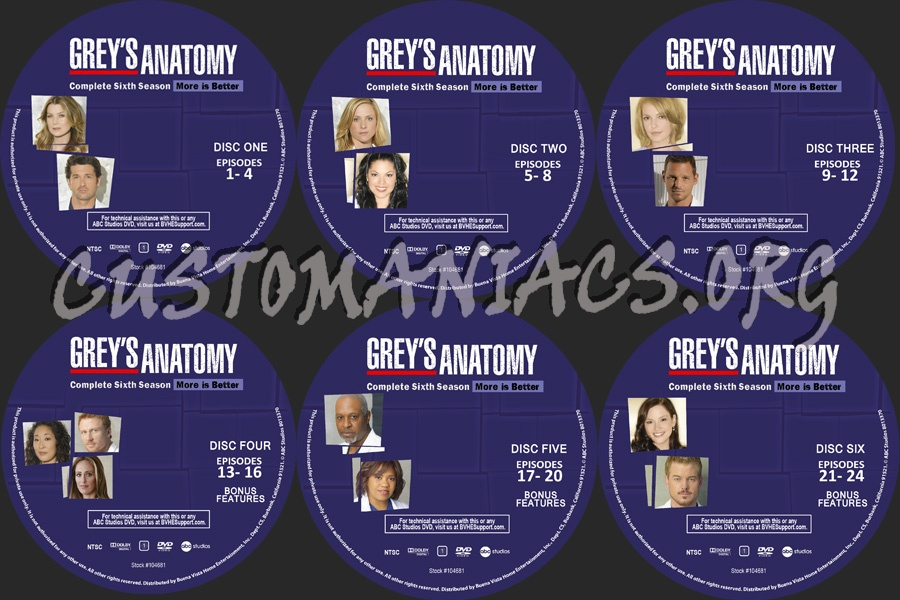 Grey\'s Anatomy Season 6 dvd label - DVD Covers & Labels by ...