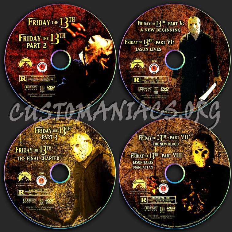 Friday the 13th 1-8 dvd label