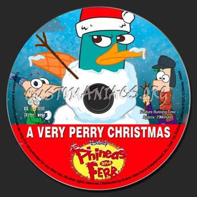 phineas and ferb a very perry christmas dvd label dvd covers