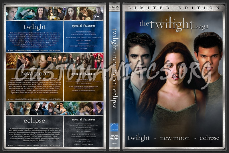 The Twilight Saga: Twilight - New Moon - Eclipse dvd cover