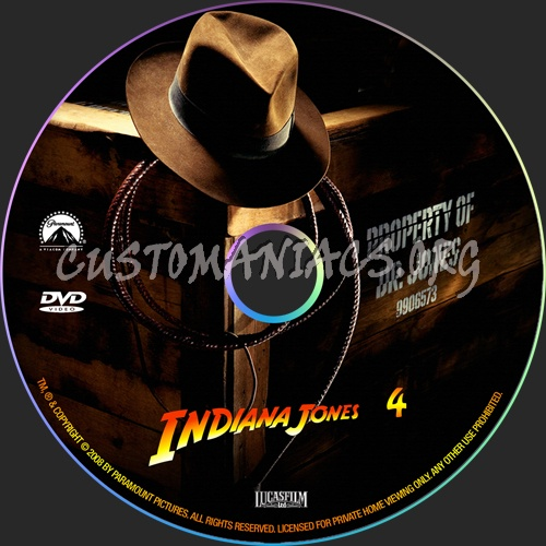Indiana Jones 4 dvd label